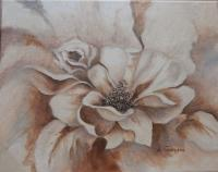 White Floral with Brown Shadows