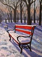 Red Bench in Winter
